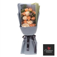Premium Boxed Soap Flower Bouquet - Champagne