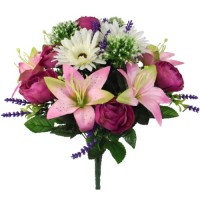 49cm RANUNCULUS LILY AND GERBERA MIXED BUSH IVORY/PINK/MAUVE