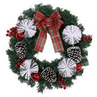 42cm SPRUCE/PINE SNOW WREATH WITH CONES BAUBLES BERRIES AND BOW RED/WHITE