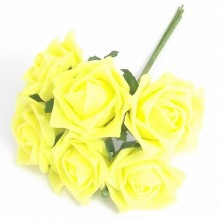 12 Colourfast Foam Roses - Yellow