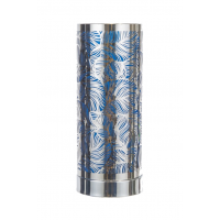 Touch Control Wax Aroma Lamp - Silver / Blue Leaf Design