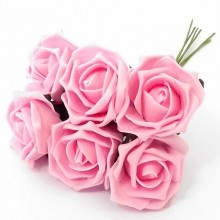12 Colourfast Foam Roses - Pink