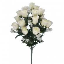 18 Head Ivory Rose Bush