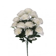 18 Head Ivory Carnation Bush