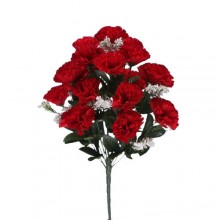 18 Head Red Carnation Bush