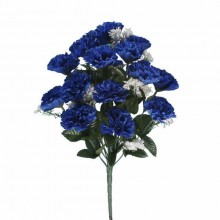 18 Head Royal Blue Carnation Bush