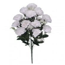 18 Head White Carnation Bush