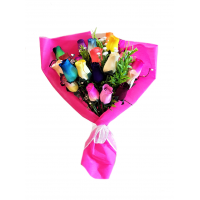 Rainbow of Hope - 24 Rainbow Deluxe Wooden Rose Bouquet