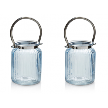 Pair of Blue Ribbed Glass Lanterns