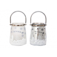 Pair of Silver / Matte Snowglobe Lanterns with Handles - 16 x 12 cm