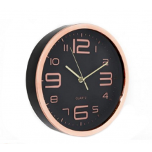 Copper Wall Clock - Black Face