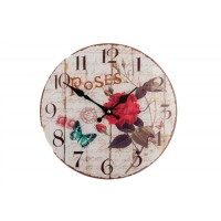 Shabby Chic Round Glass Clock With Red Roses and Blue Butterfly 30cm