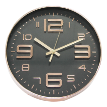 Retro Numbers Copper Wall Clock (Black Face)