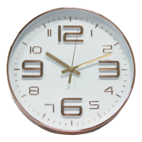 Retro Numbers Copper Wall Clock (White Face)