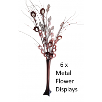 6 x Metal Flower Display - Coffee / Wholesale