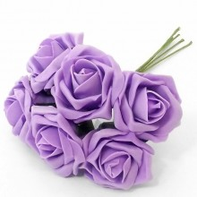 12 Colourfast Foam Roses - Sweet Lilac