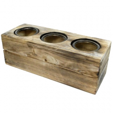 31cm WOODEN RECTANGULAR PLANTER WITH 3 ROUND GLASS POTS