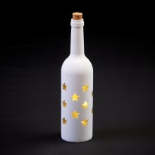 White Glass LED Stars Bottle