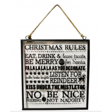 Christmas Rules Glass Plaque