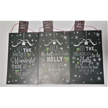 Set of 3 Christmas Message Tin Plaques