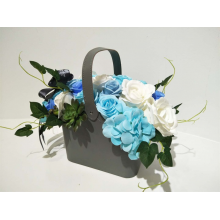 Deluxe Soap Flower Basket - Blue