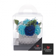 Pineapple Vase Soap Flowers - Blue