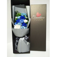 Premium Boxed Soap Flower Bouquet - Blue