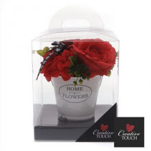 Home and Flowers Bucket Soap Flowers - Red