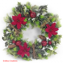 "16"" Xmas Red Wreath - 3 Poinsettias"