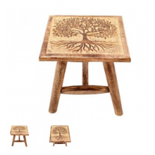 TREE OF LIFE - HAND CARVED STOOL