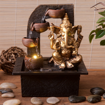 J - 161 Ganesha with Water Cups Indoor Water Fountain with LED Light