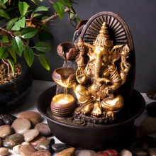 J - 177 Golden Ganesha With Round Bowl