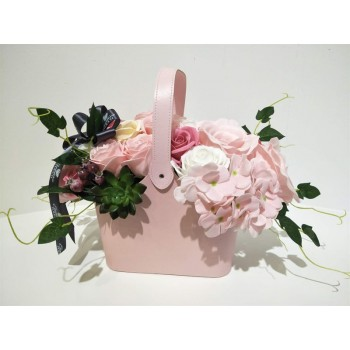 Deluxe Soap Flower Basket - Pink